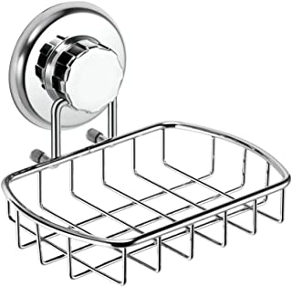 HASKO accessories - Super Powerful Vacuum Suction Cup Soap Dish - Strong Stainless Steel Sponge Holder for Bathroom & Kitchen (Chrome)
