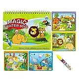 Sipobuy Livre de Dessin Magique de l'eau Coloriage de l'eau Livre de griffonnage avec Un Stylo Magique Panneau de Peinture pour Enfants Education Dessin Jouet (Monde Animal)