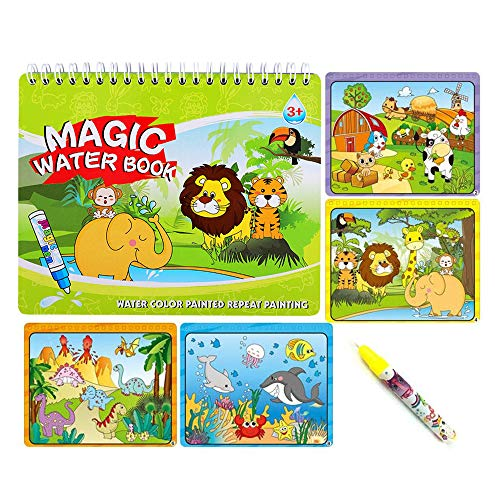 Sipobuy Magic Water Drawing Book Agua Libro para Colorear Doodle con Magic Pen Tablero de Pintura para niños Educación Dibujo Juguete (Animal World)