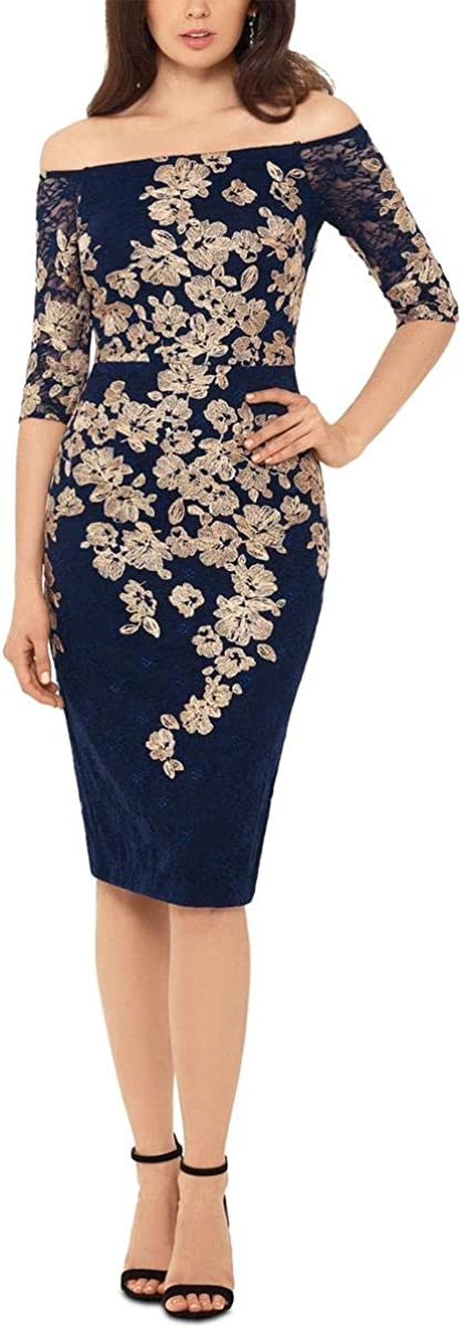 Xscape Womens Navy Special price for a limited [Alternative dealer] time Embroidered Floral Short Off Shoulder Sleeve