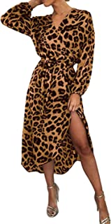 04761760010 BYSBZD Womens Sexy V Neck Leopard Print Long Sleeve Midi Dress Faux Wrap  with Belt