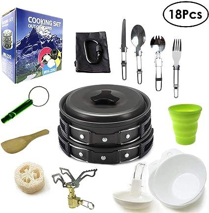 Juego de cocina para camping, cacerola, utensilios de cocina ...