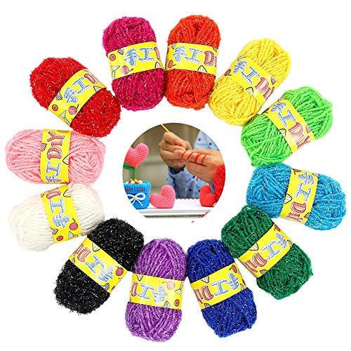 BTXY 12 ovillos de hilo acrílico para proyectos de hilado pequeños y niños, ganchillo, para tejer y manualidades, 12 unidades (12 colores)