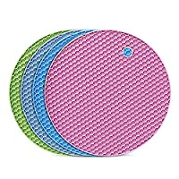 flintronic sottopentola silicone set di 4, presine in silicone da cucina forma di alveare, resistente al calore fino a 250 °c, lavabile in lavastoviglie, multifunzione - tondo, colorato