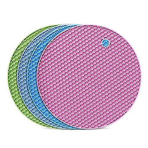 flintronic 4 PCS Salvamanteles de Silicona, Sostenedor de Pote de Silicona Estera Antideslizante, Resistente al Calor, para Aislamiento, Asar, Hornear - Multicolor