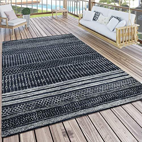 Paco Home In- & Outdoor Teppich Skandi Mustermix Terrassen Teppich Schwarz, Grösse:160x220 cm