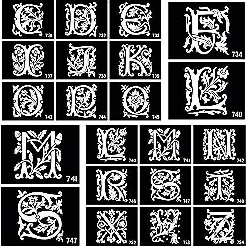 26 pièces lettres anglaises pochoirs de tatouage aérographe pour peinture corporelle paillettes autocollant de tatouage temporaire A-Z modèles de dessins avec adhésif 10 x 7cm