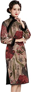 HangErFeng Qipao Autumn and Winter Women Silk Chinese Printed Addition Cotton Cheongsam New Year Lace Dress