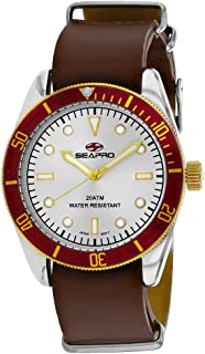 Seapro Men's Revival Stainless Steel Quartz Leather Strap, Brown, 22 Casual Watch (Model: SP0304)