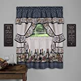 Achim Home Furnishings Chateau Window Curtain Cottage Set, 57 inch x 36 inch, Navy, 57 X 36