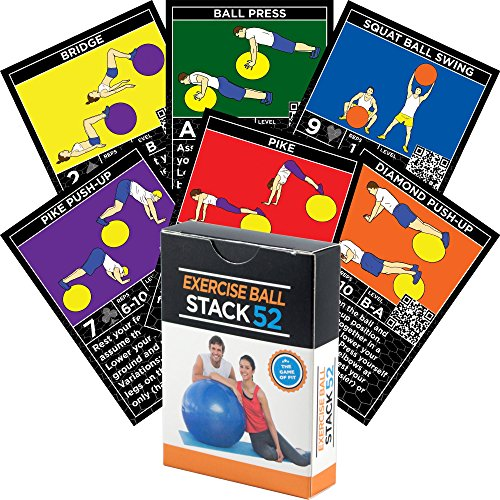 Exercise Ball Fitness Cards by Stack 52. Swiss Ball Workout Playing Card Game. Video Instructions Included. Bodyweight Training Program for Balance and Stability Balls. Get Fit at Home.