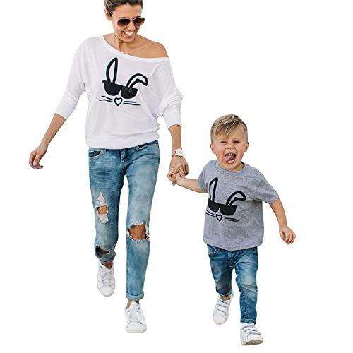 be2721c3966c06 Raptop Mother   Son T-Shirt Tops Family Matching Print Cat Cute Long Sleeve  Blouse