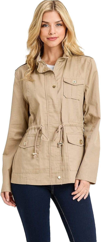 Zip Up Lightweight Military Versatile Utility Anorak Street Fashion Drawstring Adjustable Waist Jacket at  Women's Coats Shop
