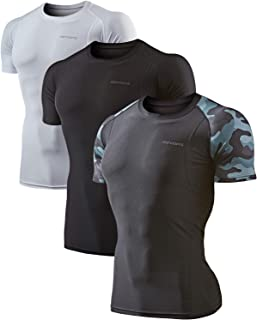 DEVOPS Men's 3 Pack Cool Dry Athletic Compression Short Sleeve Baselayer Workout T-Shirts