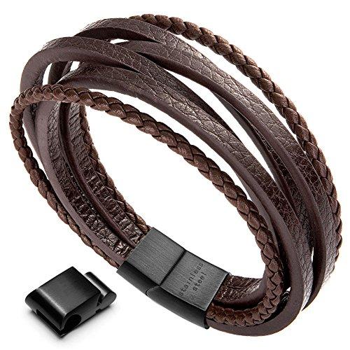 murtoo Herren Armband Echtleder Armband schwarz braun geflochten mit Magnet Verschluss (braun Leder,schwarz Glied,22,5cm)