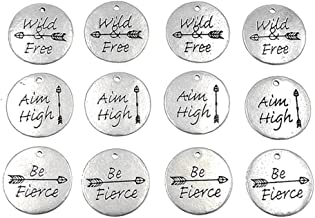 Kinteshun Lettering Inspiring Words Sayings Charm Hang Tag Quote Message Charm Pendant for DIY Necklace Bracelet Jewelry Making Accessaries(12pcs,Antique Silver Color)