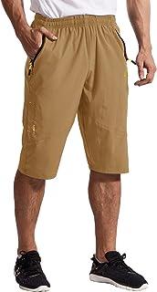 TBMPOY Men's Outdoor Hiking Cargo Shorts Quick Dry Lightweight 3/4 Capri Pants Zipper Pockets