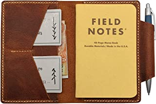 """Leather Journal Cover for Field Notes, Moleskine 3.5"""" x 5.5"""", Small Leather Notebook Cover with Pen Holder & Card Slots, Hand Sewn, Brown"""