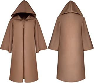 Halloween Wizard Cloak Costume Monk Hooded Robes Cloak Cape Friar Medieval Kids Adult