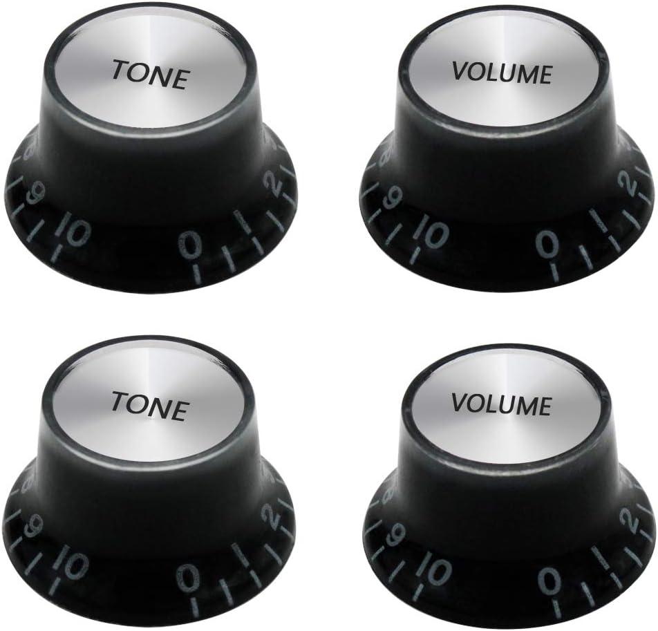 mxuteuk 2piezas Volumen 2piezas Tono Guitarra eléctrica Bajo Perillas de sombrero de copa Velocidad Volumen Tono AMP Perillas de control de pedal de efecto Negro con tapa plateada KNOB-S14