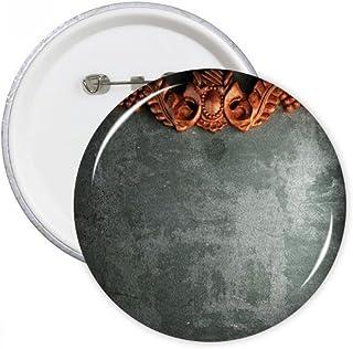DIYthinker Noir Gris Ciment Bois d'acajou Ornement Illustration Motif Broches Rondes Badge Button Vêtements Décoration Cad...