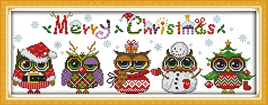 Cross Stitch Kits, Christmas Owls Awesocrafts Easy Patterns Cross Stitching Embroidery Kit Supplies Christmas Gifts, Stamped or Counted (Owls, Counted)
