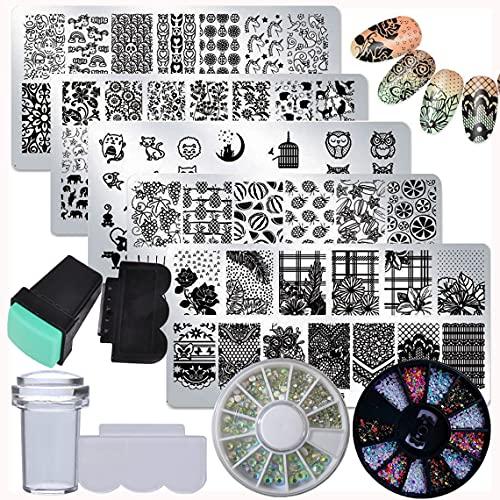 LoveOurHome - Juego de 5 placas de estampación de uñas, diseño mixto, 5 unidades, diseño de flores, para decoración de uñas, diseño de uñas, con estampado y raspador