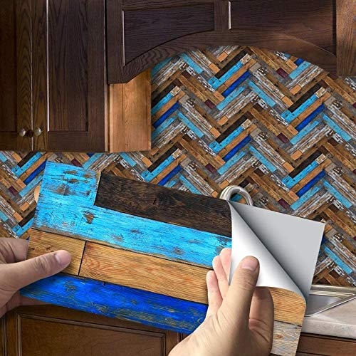 SXXDERTY Azulejos Adhesivos Calcomanías Vinilo Autoadhesivo, Adhesivos para Piso Transferencias Art Deco Patrón de Madera Salpicadero Cocina Baño Mosaico Chimenea 8 x 4 (20 x 10 cm), 54 Piezas