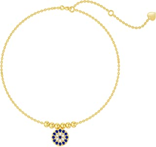 Sponsored Ad - 14K Solid Gold Evil Eye Anklet for Women,Yellow Gold Dainty Lucky Evil Eye Dangle Anklets Bracelets Beads S...