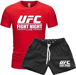 تي شيرت رجالي مناسب للتدريب في سن المراهقة، فنون القتال المختلطة، قمصان قصيرة وتي شيرتات مطبوعة بتقنية UFC (اللون: أحمر-1،...