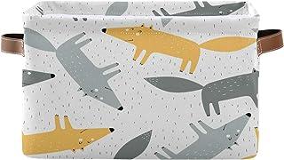 Tropicallife F17 Panier de rangement en toile pliable avec poignée Motif renard Animal Boîte de rangement en tissu pour pl...