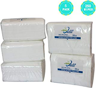 """Jebblas Baby Dry Wipes Hospital Wipes Ultra Soft Cleaning Cloth Unscented Paper Towels Super Gentle and Absorbent Wash Cloth for Baby, Facial, Cleaning 50 Count/Package (5) 9"""" x 12"""""""