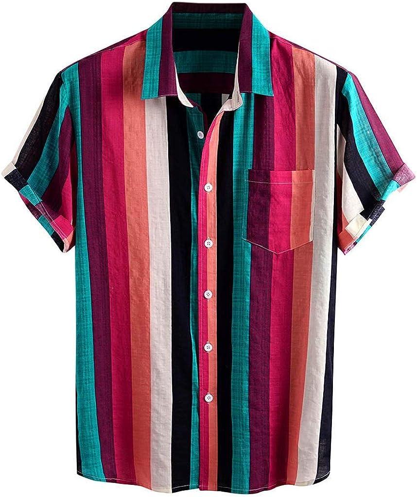 Wohelen Funny Hawaiian Shirt for Men Summer Casual Stripe Printed Button Down Shirts Short Sleeve Beach Shirt with Pocket