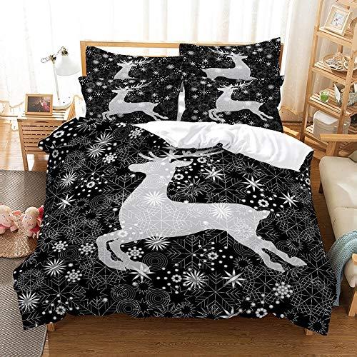 Funda nórdica de tela estampada, funda de edredón de ropa de cama de ciervo de Navidad de plata negra, kit de impresión en 3D Funda de edredón de dibujos animados para niños, niños masculinos y