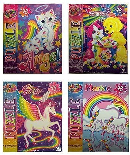 Lisa Frank 48 Piece Jigsaw Puzzle Set of 4 Bundle including Skye, Angel Kitten, Rainbow Matinee, Markie by Lisa Frank