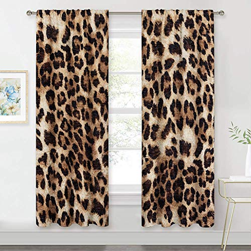 MESHELLY Brown Leopard Cheetah Print Curtains 2 Panels 42 (W) x 63(H) Inch Rod Pocket Animal Wild Safari Powerful Panthera Skin Pattern Art Printed Living Room Bedroom Window Drapes Treatment Fabric