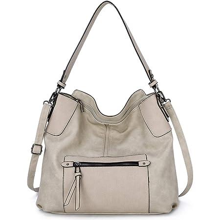 KL928 tasche damen Handtasche Umhängetasche Schultertasche Damenhandtasche PU Leder elegante Tasche damen Henkeltaschen für frauen (B hellgrau)