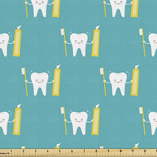Lunarable Cartoon Fabric by The Yard, Funny Smiling Tooth Character Holds a Brushstroke and Toothpaste, Decorative Fabric for Upholstery and Home Accents, 1 Yard, Seafoam Yellow