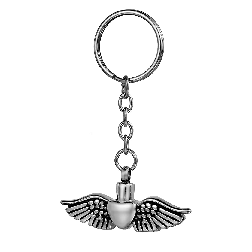 Angel Wing & Love Heart Cremation Jewelry, COCO Park Memorial Ashes Holder Keepsake Urn Pendant Keychain