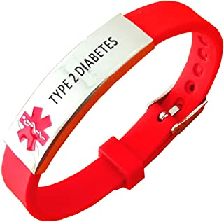 Lyndong Stainless Steel Silicone Bracelet Medical Alert ID Wristband for Men and Women Adjustable Size