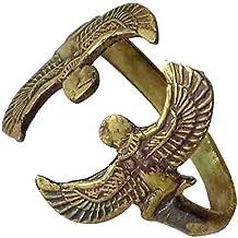 bonballoon Egyptian Isis Wings Finger Ring FingerRing Hieroglyphics Hieroglyphic Pharaoh Goddess Solid Brass Hand Engraved Adjustable Egypt Pharaoh Pharaohs Costume Jewelry Accessory Handmade