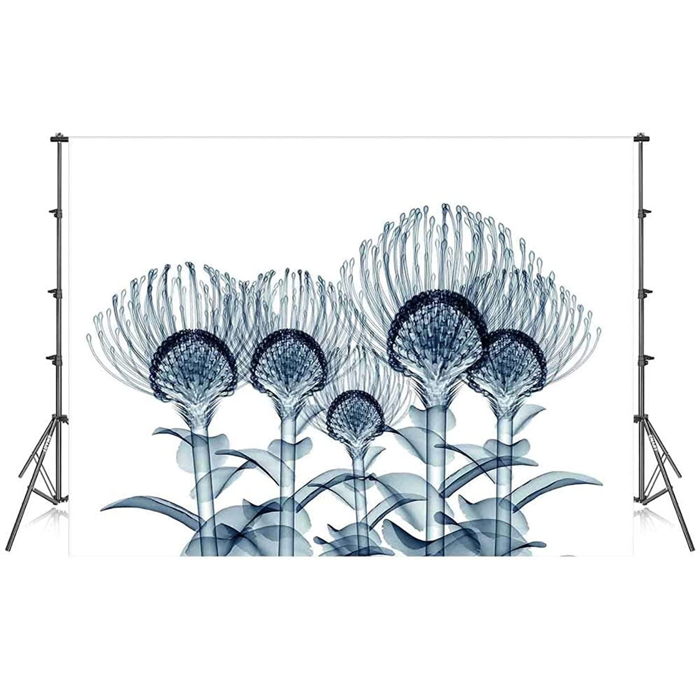 Xray Flower Stylish Backdrop,Image of Exotic Plants Close Vision in Nature X ray Uv Print Home for Photography Festival Decoration,59''W x 39''H