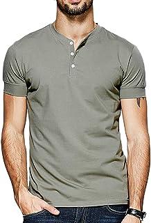 Lotmat Mens Henley V Neck T Shirts Casual Sexy Slim Fit Short & Fashion Long Sleeve