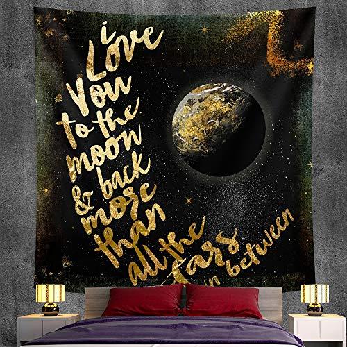 KHKJ Blanco y Negro Luna Mandala Tapiz decoración Colgante de Pared Dormitorio Escena psicodélica luz de Las Estrellas decoración de Arte A13 200x150cm