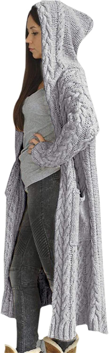 Sweaters for Women Plus Size Long Sweaters Jackets Coats with Hood Knit Button Sweater