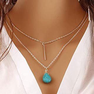 Asooll Boho Turquoise Necklace Bar Layer Necklace Silver Blue Beaded Water Drop Necklace Chain Beach Jewelry for Women and Girls