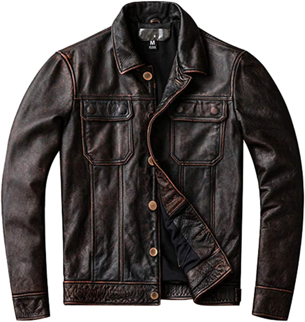 First Layer of Max 65% OFF Cowhide Leather Inexpensive Men's Vintage Washed Genui Jacket