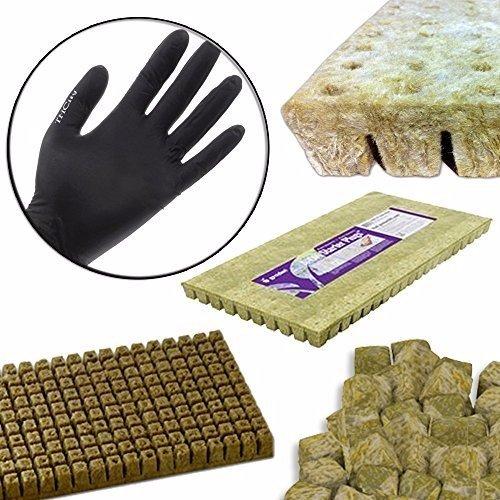 GRODAN A OK Rockwool Stonewool Hydroponic Grow Media Starter Cubes Plugs + THCity Gloves - 2' x 2' - 50 Piece