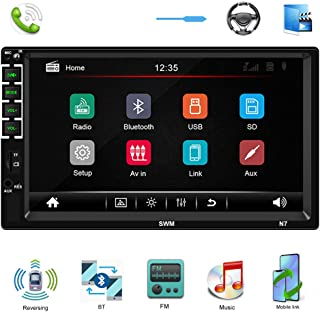 Double Din Car Stereo 7'' HD Car Multimedia Player in Dash Touch Screen Car Radio Bluetooth Autoradio Head Unit Support SWC FM AUX USB TF Mirror Link Reverse View