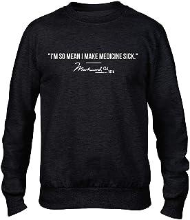 Ali Quote I'm So Mean I Make Medicine Sick Boxing Men's Black Crew Sweatshirt Jumper